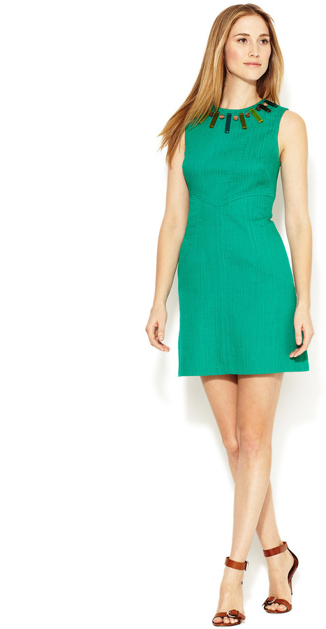 Milly Beaded Textured Cotton Sheath