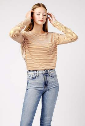 Azalea Stripe LS Crew Neck Pocket Top