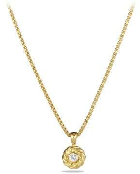 David Yurman Cable Kids Pendant Necklace With Diamond In 18K Gold