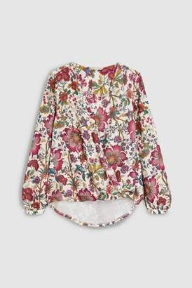 Next Womens Floral Wrap Front Long Sleeve Top