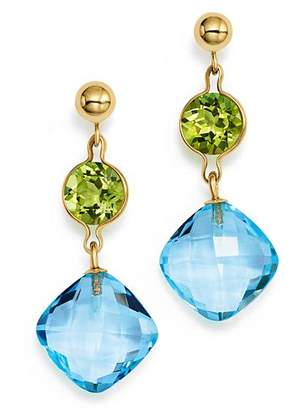 Bloomingdale's Peridot and Blue Topaz Drop Earrings in 14K Yellow Gold - 100% Exclusive