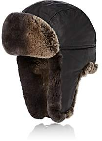 Crown Cap Men's Fur-Trimmed Leather Aviator Hat-Black
