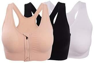 ohlyah Women's Zipper Front Closure Sports Bra Racerback Yoga Bras 3 Pack L