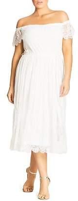 City Chic Plus Off The Shoulder Lace Dress