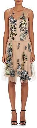 Alberta Ferretti Women's Jungle-Pattern Embellished Tulle Dress
