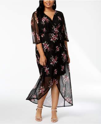 Connected Plus Size Floral Faux-Wrap Maxi Dress