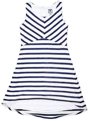 Busy Bees And Miss B Natalie Double Stripe Dress Navy Cream Stripe