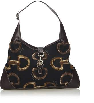 Gucci Pre-Loved Black Canvas Fabric Horsebit Print Jackie Shoulder Bag Italy