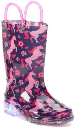 Western Chief Glitter Horse Lighted Girls' Light Up Waterproof Rain Boots