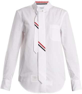Thom Browne Tie-neck striped-detail cotton-poplin shirt