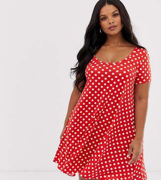 Brave Soul Plus polka dot swing dress