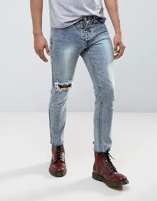 Mennace Super Skinny Skinny Cropped Jeans In Acid Wash With Piercing Ring