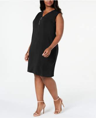 JM Collection Plus Size Sleeveless Zip-Neck Dress