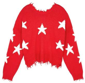 Wildfox Couture Stars Deep Red Cotton Jumper