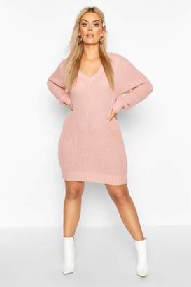 boohoo Plus V Neck Chunky Knitted Jumper Dress