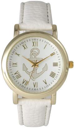 Olivia Pratt Anchor Leather Strap Watch