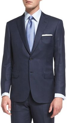 Brioni Colosseo Self-Striped Two-Piece Suit, Navy $6,050 thestylecure.com