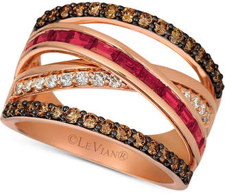 LeVian Le Vian Certified Ruby (3/4 ct. t.w.) and Diamond (7/8 ct. t.w.) Ring in 14K Rose Gold