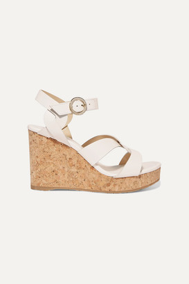Jimmy Choo Aleili 100 Leather Wedge Sandals - White