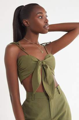 Urban Outfitters Linen Tie-Strap Bra Top