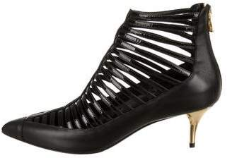 Balmain Leather Pointed-Toe Ankle Boots