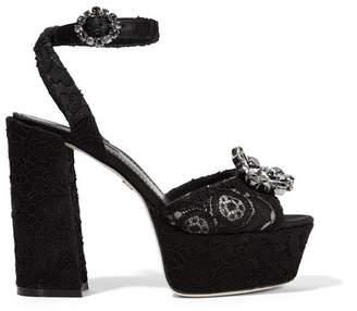 Dolce & Gabbana Crystal-embellished Corded Lace Platform Sandals - Black
