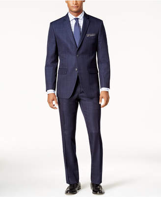 Perry Ellis Men's Slim-Fit Blue Windowpane Suit