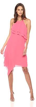 Nanette Lepore Nanette Women's Spaghetti Strap Dress W/Wrap Around Flounce