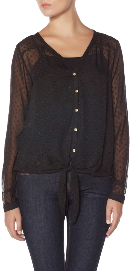 The Limited Polka Dot Tie Front Layering Shirt