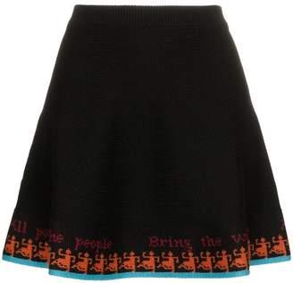 Rudi Gernreich colour-block flared wool mini skirt
