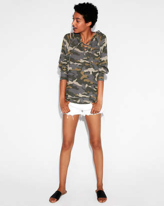 Express One Eleven Camo Lace-Up Wedge Hoodie