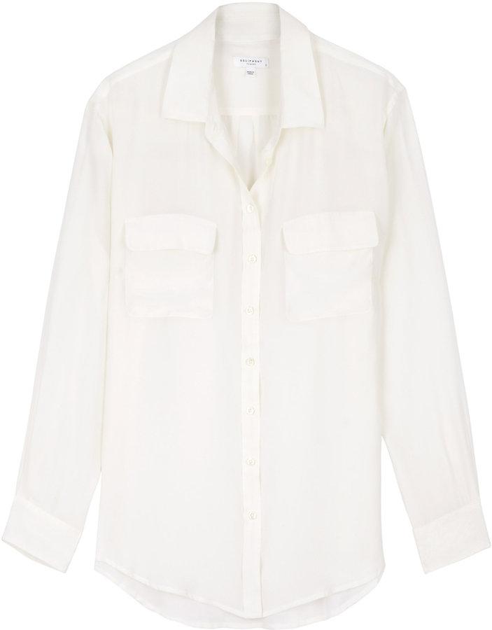 Equipment White Signature Silk Blouse