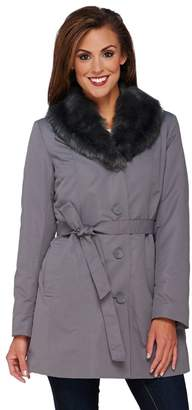 Dennis Basso Coat with Removable Faux Fur Collar and Liner