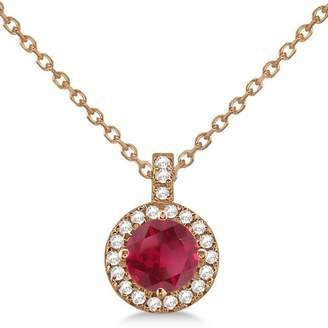 Allurez Ruby and Diamond Halo Pendant Necklace 14k Rose Gold (1.07ct)