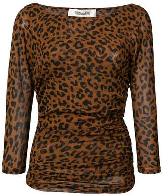 Diane von Furstenberg ruched leopard print top