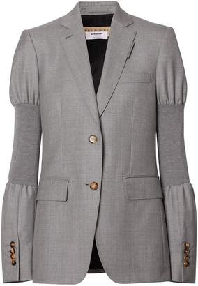 Burberry Panelled-sleeve Wool Tailored Jacket