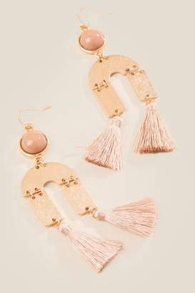 francesca's Quinn Tassel Drop Earrings - Taupe