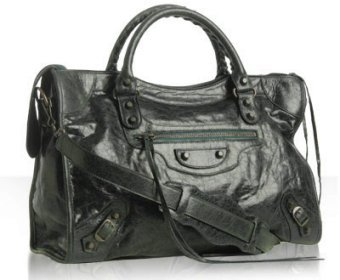 Balenciaga dark green goatskin 'City' medium satchel