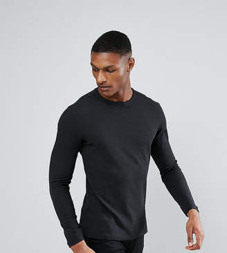 Selected Long Sleeve T-Shirt In Waffle Cotton