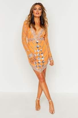 boohoo Premium Hand Embellished V Hem Dress