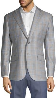 Lubiam Plaid Wool Suit Jacket