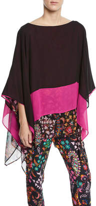 Etro Colorblocked Floral-Hem Silk Poncho