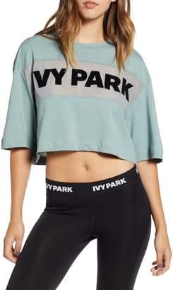Ivy Park R) Sheer Flocked Logo Crop Tee