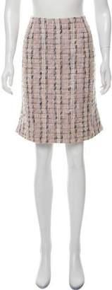 Valentino Red Tweed Knee-Length Skirt
