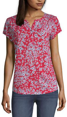 Liz Claiborne Henley Neck Short Sleeve T-Shirt -Womens
