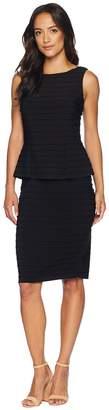 Adrianna Papell Matte Jersey Pintucked Peplum Dress Women's Dress