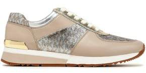 MICHAEL Michael Kors Glittered Smooth And Metallic Leather Sneakers