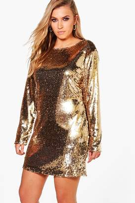 boohoo Plus All Over Sequin Bodycon Dress