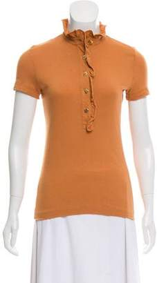 Tory Burch Short Sleeve Ruffle Top