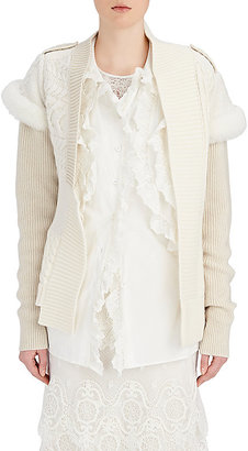 Burberry X Barneys New York Women's Shearling-Trimmed Wool-Cashmere Cardigan $2,195 thestylecure.com